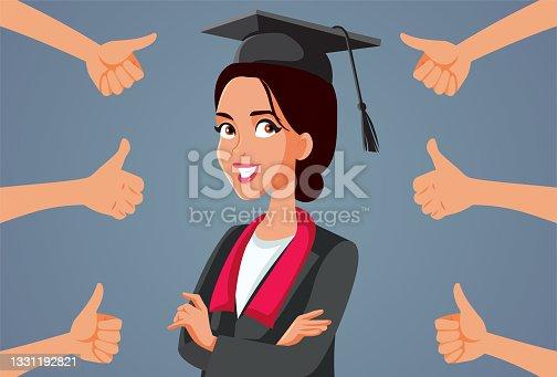 istock Female Student Receiving Appreciation at Graduation Ceremony 1331192821