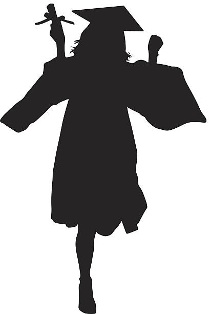 female student silhouette vector art illustration