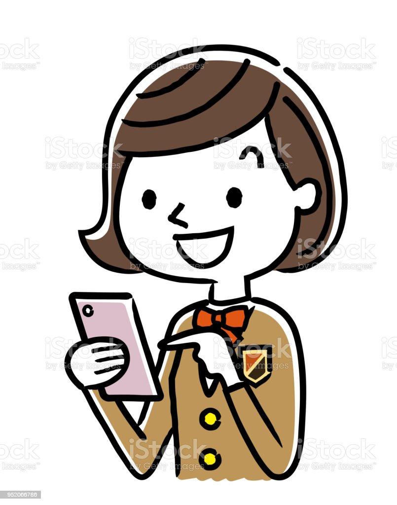 Estudiante: Smartphone - ilustración de arte vectorial