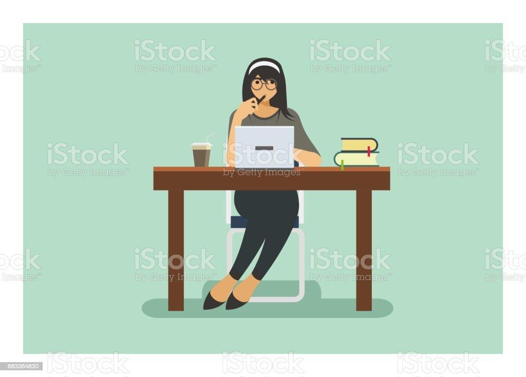 female student studying alone, isolated flat illustration vector art illustration