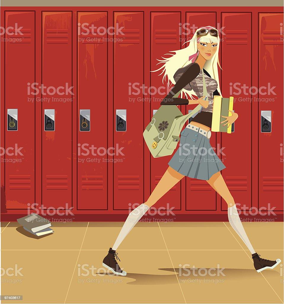 Female Student Walking Through Hallway with Lockers vector art illustration