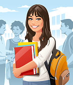 Vector illustration of a young female student with a backpack and books on an university campus. In the background are buildings, other students and a blue sky. Concept for university, college, high shool, students and education.