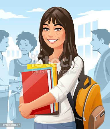 istock Female Student With Backpack On Campus 1250238477