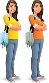Illustration of a young attractive smiling woman with long dark hair and a bag, wearing blue jeans and a yellow or orange shirt, standing with her arms crossed, isolated on white.