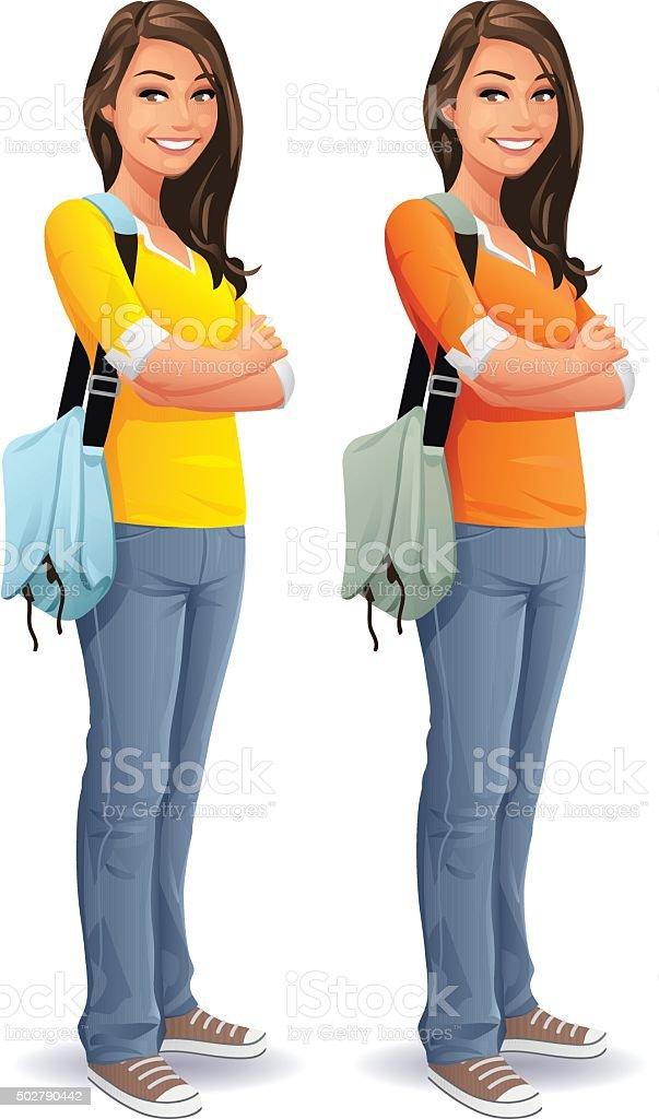 Female Student With Bag vector art illustration