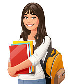 Vector illustration of a young female student with a backpack and books, looking at the camera, isolated on white.
