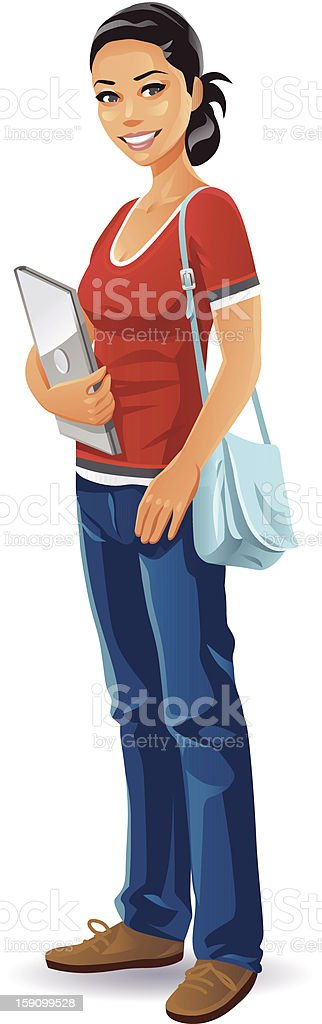 Female Student With Laptop vector art illustration