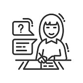 School and education vector line design single isolated icon, pictogram. Girl studying