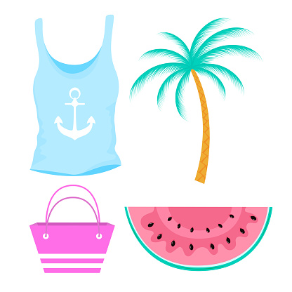Female summer t-shirt with anchor, watermelon. Palm tree, beach bag
