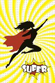 Female Super Hero silhouette and text SUPER in retro comic pop a