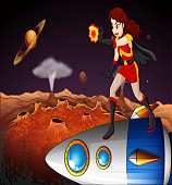 female superhero at the galaxy standing above the spaceship