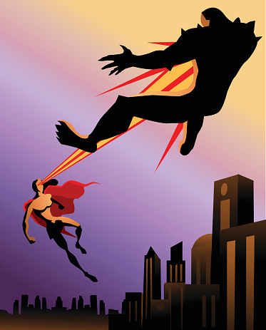 Female Superhero Firing Heat Vision to a Monster
