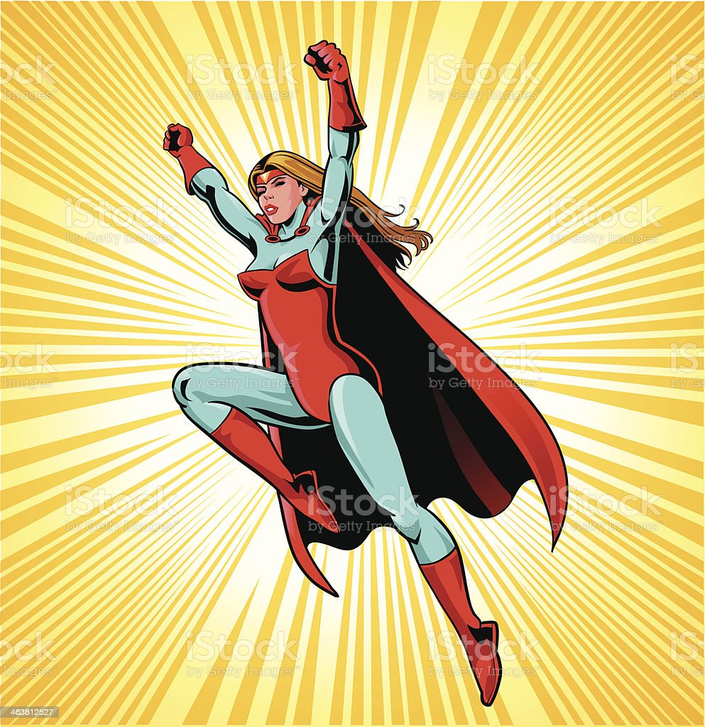 Female Superhero in Action vector art illustration