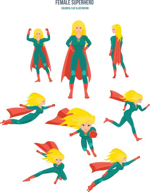 weibliche superhelden in verschiedenen situationen und posen, in tracht - superwoman stock-grafiken, -clipart, -cartoons und -symbole