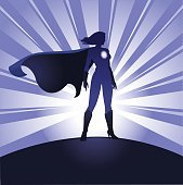 Female Superhero Silhouette With Rays Background