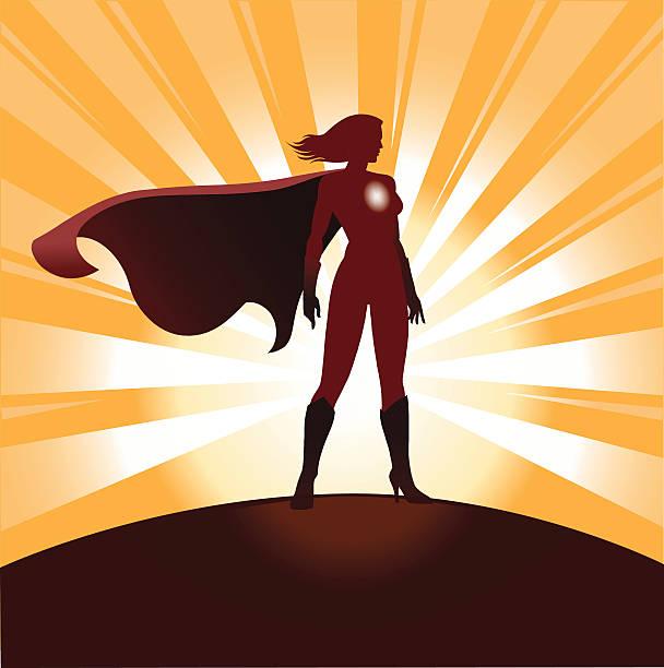 illustrations, cliparts, dessins animés et icônes de femme silhouette super-héros et sunrays - modèles de bande dessinée