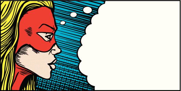 Female superhero thought bubble