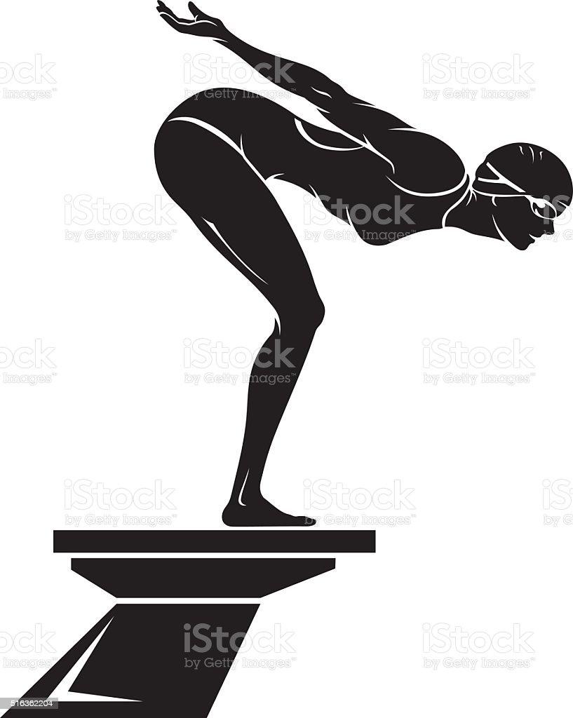 Female Swimmer vector art illustration