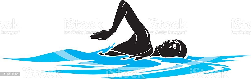 Female Swimmer vector art illustration