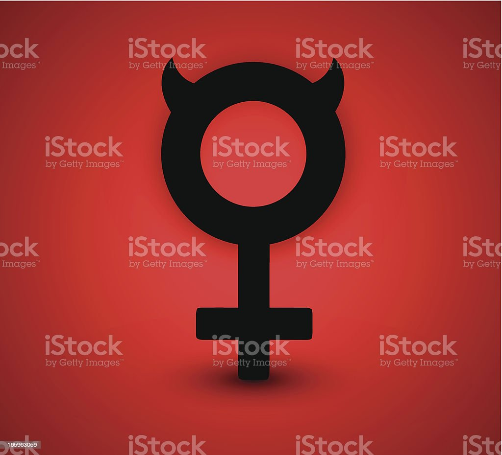 Female Symbol With Devil Horns Stock Vector Art More Images Of