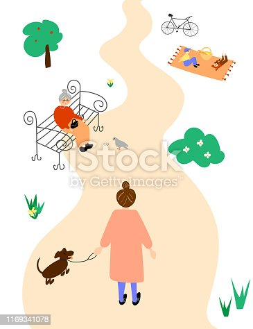 Female taking a walk in a park illustration