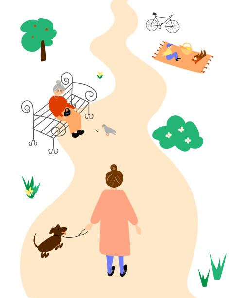 Female taking a walk in a park illustration vector art illustration