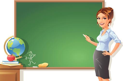 Female Teacher at Blackboard