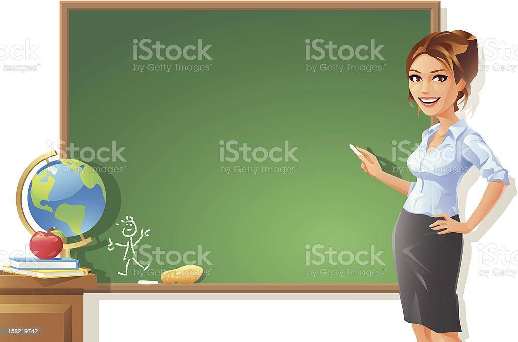 Female Teacher at Blackboard vector art illustration