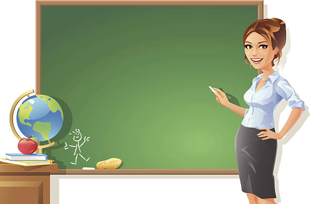 Female Teacher at Blackboard vector art illustration