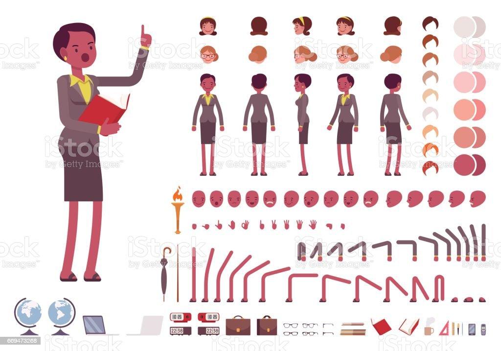 Female teacher character creation set vector art illustration