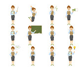 Female teacher emoji set on white background with funny emotions and expresiions.