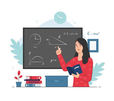 Female teacher giving math lesson while explaining it on chalkboard. Teaching concept illustration