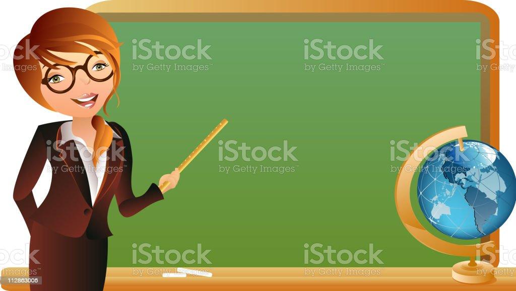 Female Teacher Pointing at the Blackboard royalty-free stock vector art