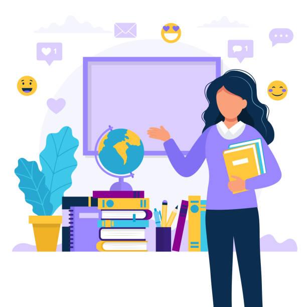 bildbanksillustrationer, clip art samt tecknat material och ikoner med kvinnlig lärare med böcker och chalkboard. koncept illustration förskola, utbildning, universitet. vektor illustration i platt stil - klassrum