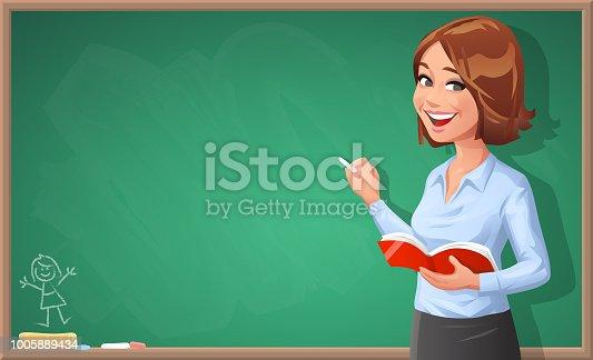 istock Female Teacher Writing On Blackboard 1005889434