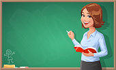 A young cheerful female teacher with a book in her hand, looking at the camera, writing on a blackboard. Vector illustration with space for text.