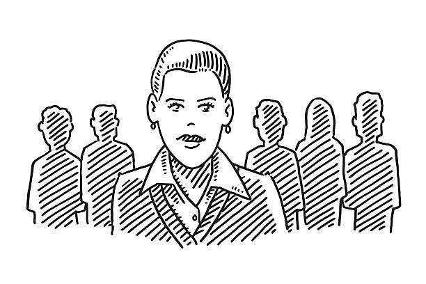 Female Team Leader Drawing Hand-drawn vector drawing of a Female Team Leader. Black-and-White sketch on a transparent background (.eps-file). Included files are EPS (v10) and Hi-Res JPG. women stock illustrations