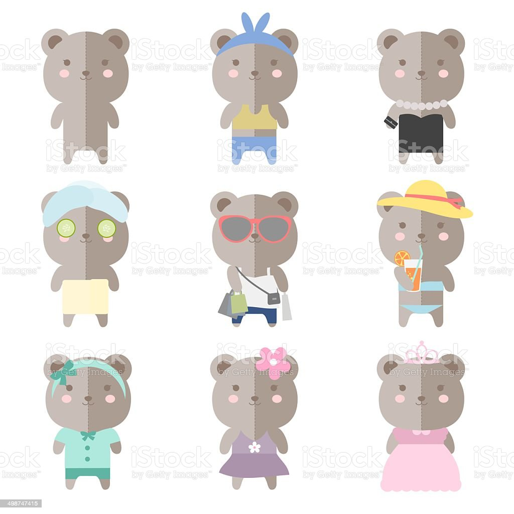 Female Teddy Bear Costumes royalty-free stock vector art