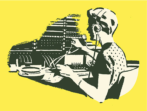 Female Telephone Operator Female Telephone Operator switchboard operator vintage stock illustrations