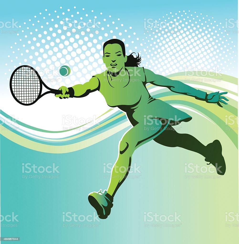 Female Tennis Player on Green Background vector art illustration