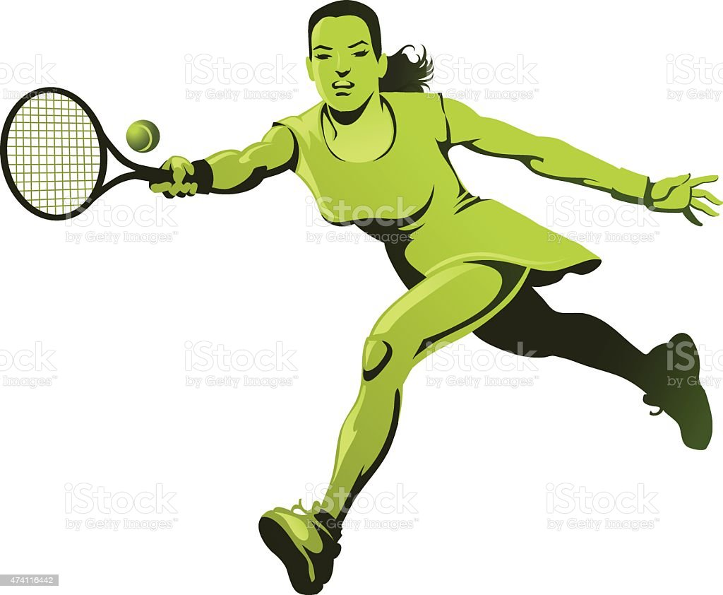 Female Tennis Player Stretching to Return the Ball vector art illustration