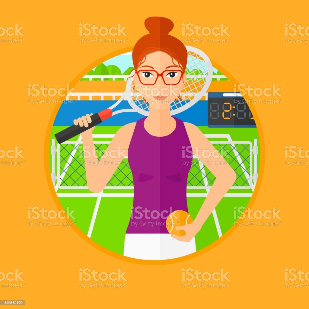 Female tennis player vector art illustration