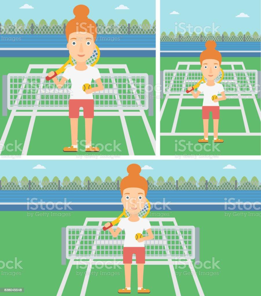 Female tennis player vector illustration vector art illustration