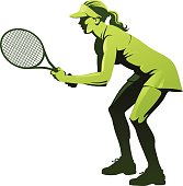 Female Tennis Player Waiting for Serve