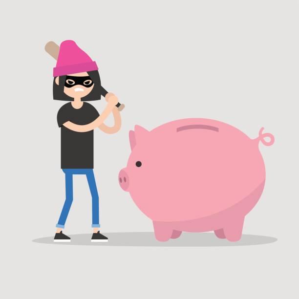 female thief breaking a piggy bank with a baseball bat / flat editable vector illustration, clip art - evil money stock illustrations, clip art, cartoons, & icons