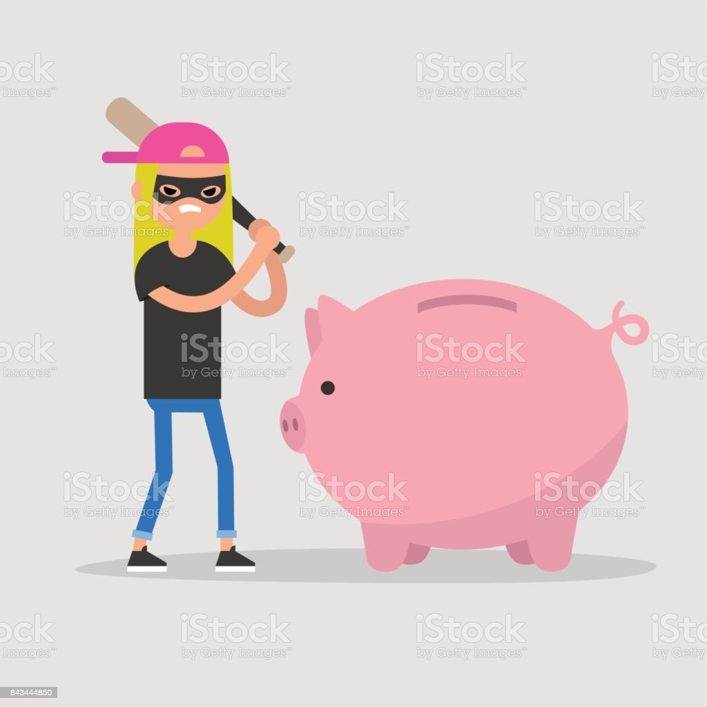 Female thief breaking a piggy bank with a baseball bat / flat editable vector illustration, clip art vector art illustration
