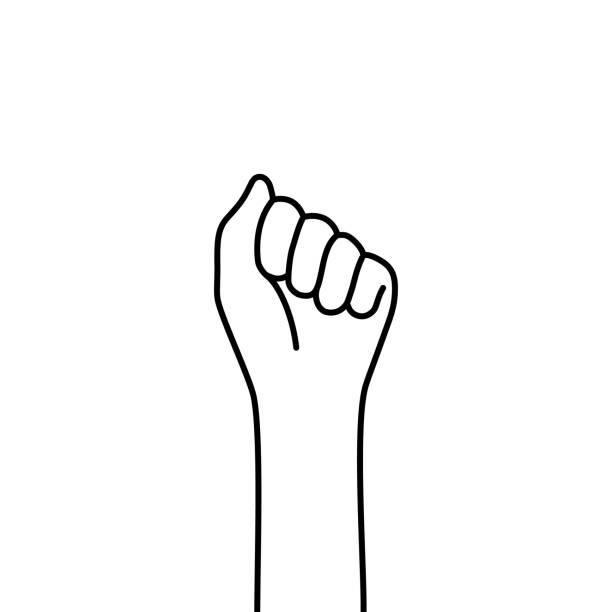illustrazioni stock, clip art, cartoni animati e icone di tendenza di female thin line fist like protest - mano donna dita unite