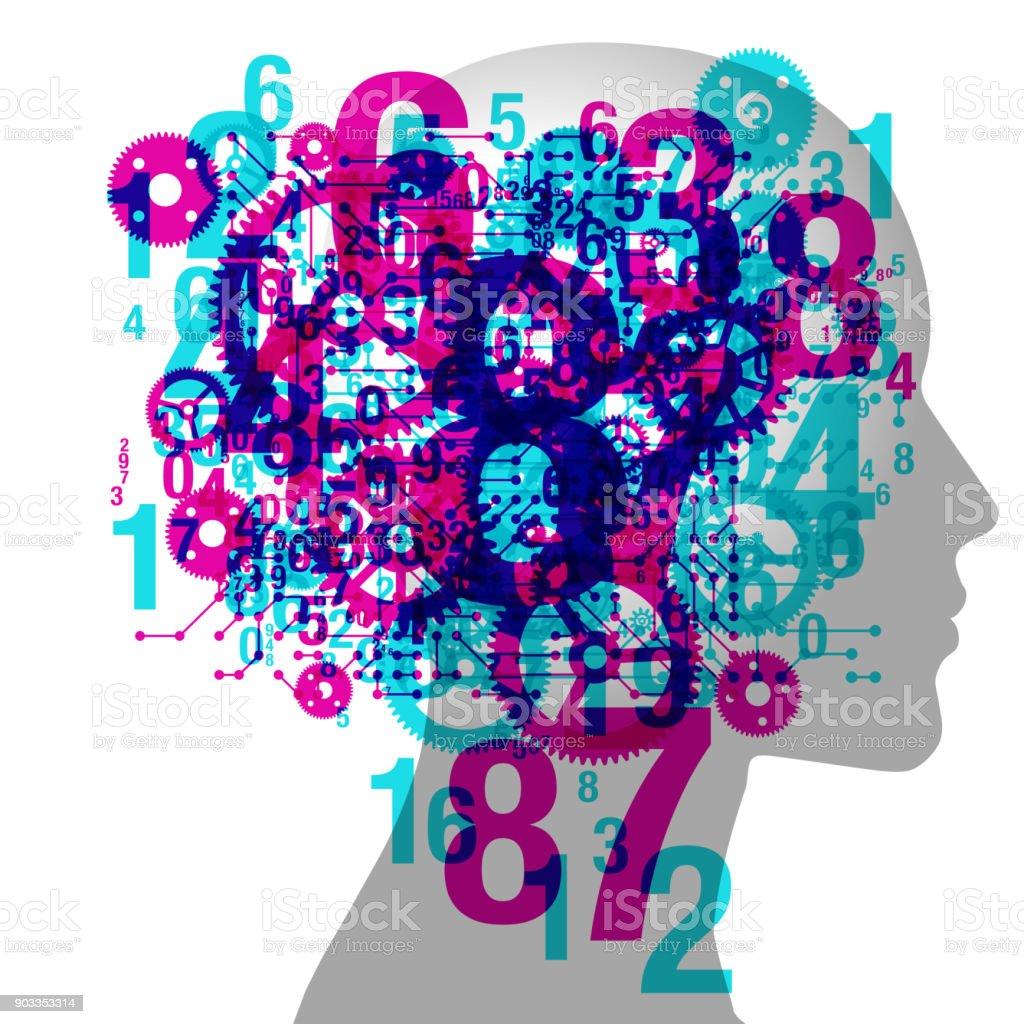 Female Thinking vector art illustration