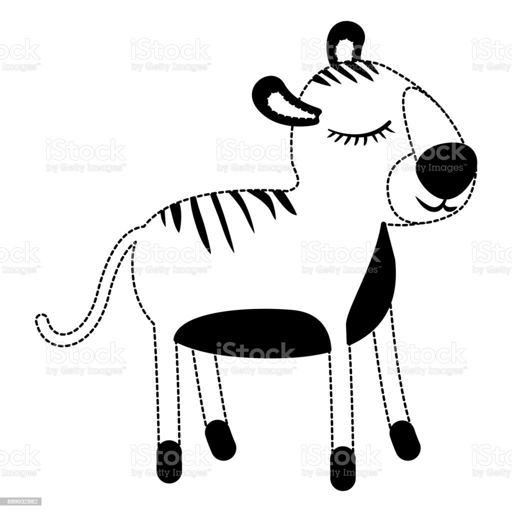Female Tiger Cartoon With Closed Eyes Expression In Black Dotted