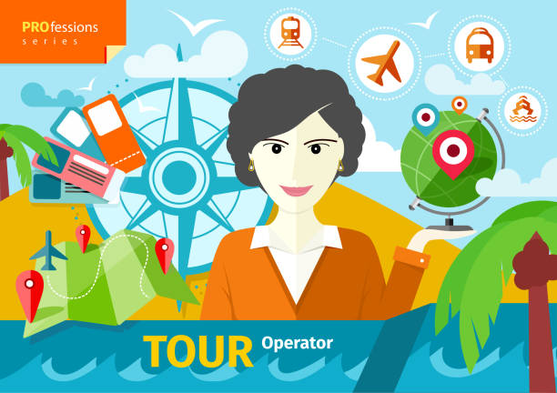 female travel agent holding globe with pointers - travel agent stock illustrations, clip art, cartoons, & icons